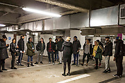 CEO of The Big House charity and Phoenix Rising director Maggie Norris speaks with cast members as she introduces the underground car park, where the performance will be held.<br /> The full-scale production, which runs from 8th Nov - 2nd of Dec 2017 under Smithfield Meat Market, has been put together by charity The Big House, a charity that helps troubled youths who have been in care.