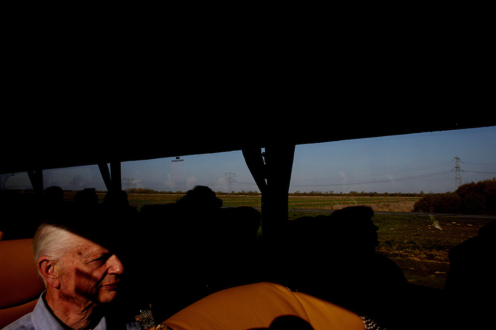 Netherland, 17.04.10..Due to the closed airspace over Europe, a group of 24 norwegian retirees hired a bus for 9300 euro, and embarked on the 20 hour roadtrip back home from vacation...Photo by: Eivind H. Natvig/MOMENT