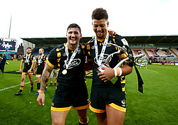 Guy Thompson of Wasps and Guy Armitage of Wasps celebrate winning the 2017 Premiership Rugby 7s - Mandatory by-line: Robbie Stephenson/JMP - 29/07/2017 - RUGBY - Franklin's Gardens - Northampton, England - Wasps v Newcastle Falcons - Singha Premiership Rugby 7s