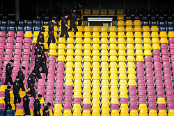 24.05.2012, Red Bull Arena, Salzburg, AUT, Freundschaftsspiel, Tuerkei vs Georgien, im Bild Polizisten beim durchsuchen der Stadion Sitzplaetze nach gefaehrlichen Gegenstaenden, wie Bomben // Police search through the stadium seats for dangerous objects, like bombs and other things during friendly Football Match between the Nationateams of Turkey and Georgia at the Red Bull Arena, Salzburg, Austria on 2012/05/24. EXPA Pictures © 2012, PhotoCredit: EXPA/ Juergen Feichter