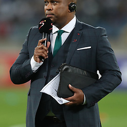 DURBAN, SOUTH AFRICA - AUGUST 12: Robert Marawa during the MTN 8 Quarter Final between Kaizer Chiefs and SuperSport United at Moses Mabhida Stadium on August 12, 2017 in Durban, South Africa. (Photo by Gallo Images)