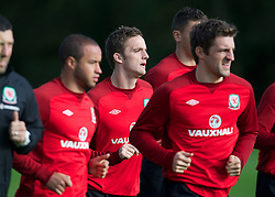 CARDIFF, WALES - Saturday, October 13, 2012: Wales' Andy King during a recovery training session ahead of the Brazil 2014 FIFA World Cup Qualifying Group A match against Croatia at the Vale of Glamorgan Hotel. (Pic by David Rawcliffe/Propaganda)