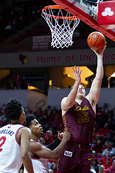 NORMAL, IL - January 19: Cameron Krutwig reaches the ball up to the glass for a lay up during a college basketball game between the ISU Redbirds and the Loyola University Chicago Ramblers on January 19 2020 at Redbird Arena in Normal, IL. (Photo by Alan Look)