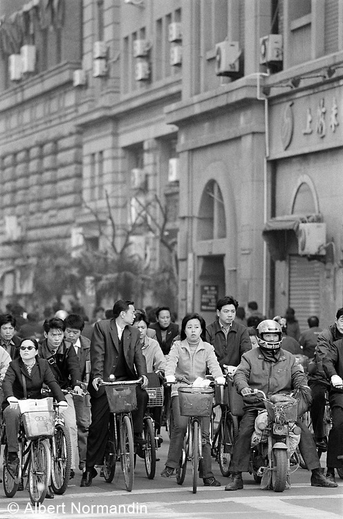 Bicycle traffic jam in the old city of Shanghai