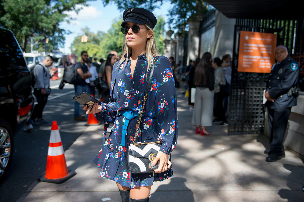 Floral Dress and Gucci Bag, Outside Tory Burch SS2018
