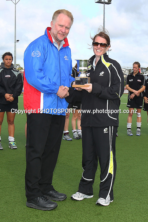 Most Valuable Umpire of the NHL Joanne Cumming presented by Tournament Director Jeff Brown. New Zealand National Hockey League, Womens' Final, North Harbour v Auckland at North Harbour Hockey Stadium, Albany, Auckland, New Zealand. Sunday 26th September 2010. Photo: Anthony Au-Yeung / photosport.co.nz