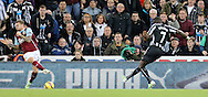 Moussa Sissoko of Newcastle United scoring their third during the Barclays Premier League match at St. James's Park, Newcastle<br /> Picture by Simon Moore/Focus Images Ltd 07807 671782<br /> 01/01/2015