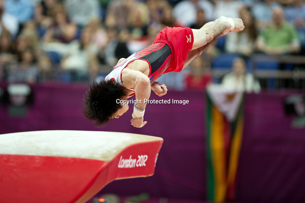 Kohei Uchimura (JPN), <br /> AUGUST 1, 2012 - Artistic Gymnastics : <br /> Men's Individual All-Around vault <br /> at North Greenwich Arena during the London 2012 Olympic Games in London, UK. <br />   (Photo by Enrico Calderoni/AFLO SPORT)