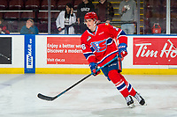 KELOWNA, CANADA - MARCH 13: Jack Finley #26 of the Spokane Chiefs warms up against the Kelowna Rockets  on March 13, 2019 at Prospera Place in Kelowna, British Columbia, Canada.  (Photo by Marissa Baecker/Shoot the Breeze)