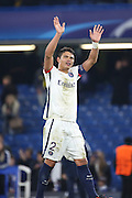 Paris Saint Germain defender Thiago Silva (2) waving to the crowd after win during the Champions League match between Chelsea and Paris Saint-Germain at Stamford Bridge, London, England on 9 March 2016. Photo by Matthew Redman.