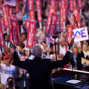 Sen. Joe Biden acknowledges the crowd on the third day of the Democratic National Committee (DNC) Convention at the Pepsi Center in Denver, Colorado (CO) Wednesday, Aug. 27, 2008.   Biden accepted his party's nomination for vice president...Photo by Khue Bui