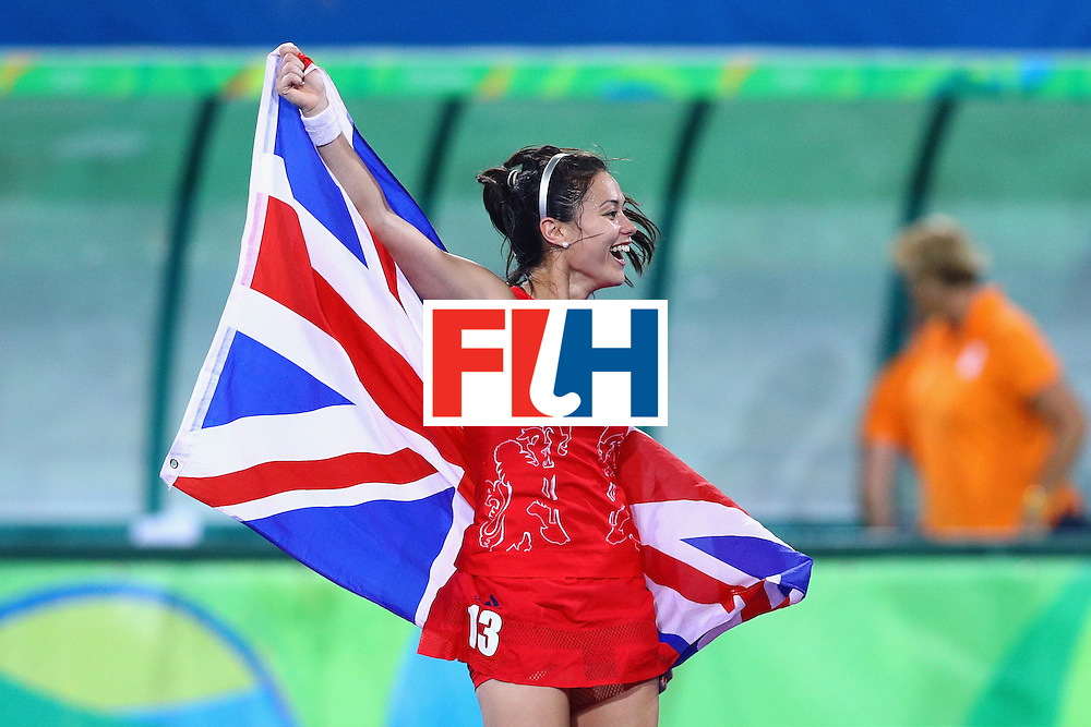 RIO DE JANEIRO, BRAZIL - AUGUST 19:  Samantha Quek #13 of Great Britain celebrates after defeating Netherlands in the Women's Gold Medal Match on Day 14 of the Rio 2016 Olympic Games at the Olympic Hockey Centre on August 19, 2016 in Rio de Janeiro, Brazil.  (Photo by Tom Pennington/Getty Images)
