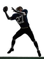 one  american football player man catching receiving in silhouette studio isolated on white background