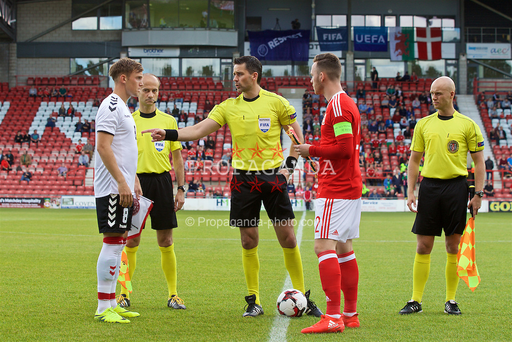 WREXHAM, WALES - Friday, September 2, 2016: Wales' captain Gethin Jones and Denmark's Lasse Vigen Christensen with referee Daniel Stefanski during coin toss ahead of the UEFA Under-21 Championship Qualifying Group 5 match at the Racecourse Ground. (Pic by Paul Greenwood/Propaganda)