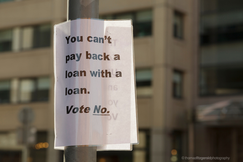 "A home made poster in support of the No campaign for the referendum on the fiscal treaty in Irteland. The poster reads ""You can't pay back a loan with a loan. Vote No"""