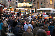 New York City Saturday afternoon crowd on 5th Avenue at around midtown 50th street