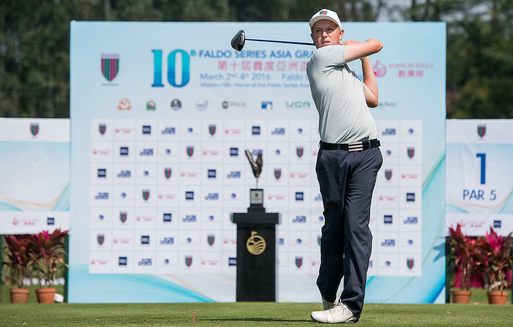 Jake Meenhorst of New Zealand in action during day one of the 10th Faldo Series Asia Grand Final at Faldo course in Shenzhen, China. Photo by Xaume Olleros.