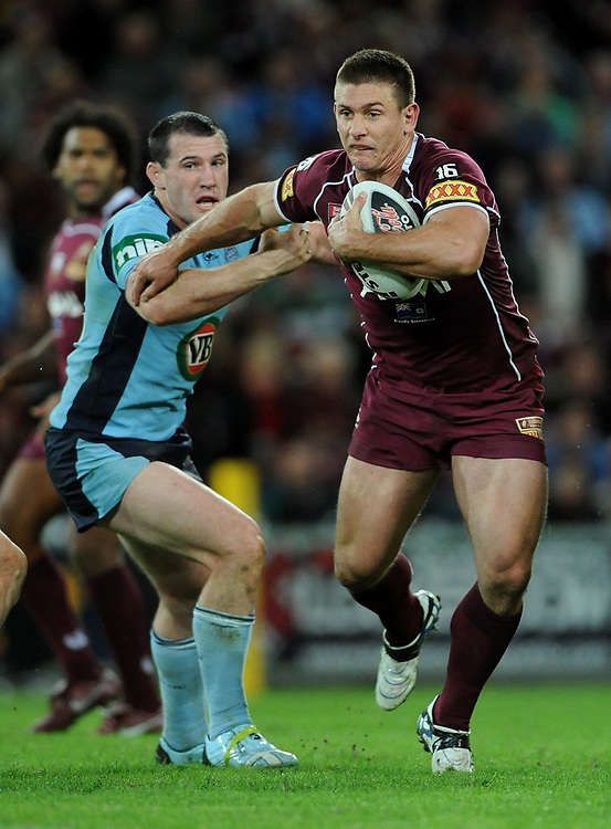 May 25th 2011: Jacob Lillyman of the Maroons runs the ball during game 1 of the 2011 State of Origin series at Suncorp Stadium in Brisbane, Australia on May 25, 2011. Photo by Matt Roberts/mattrIMAGES.com.au / QRL