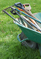 Gardening Tools in wheelbarrow