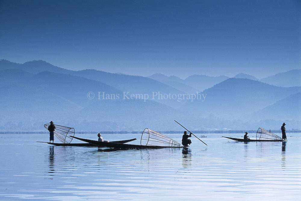 Intha fishermen on Inle Lake, Myanmar