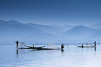 Intha fishermen on Inle Lake, Myanmar