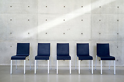 Chairs inside Langen Foundation art museum designed by Tadao Ando at Museum Insel at Hombroich in Neuss in Germany