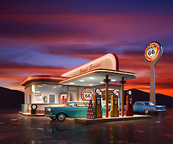 a Retro Gas station at dusk