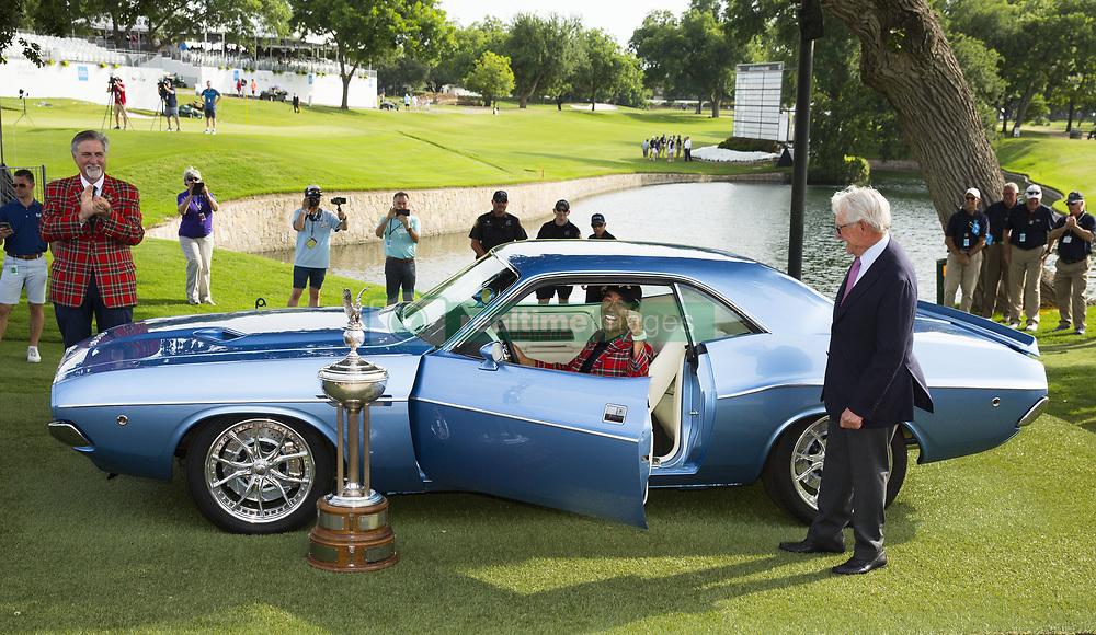 May 26, 2019 - Fort Worth, TX, USA - Kevin Na was awarded this restored 1973 Dodge Challenger by Charles Schwab after winning the 2019 Charles Schwab Challenge PGA at Colonial Country Club. Na gave the vehicle to his caddie Kenny Harms. (Credit Image: © Erich Schlegel/ZUMA Wire)