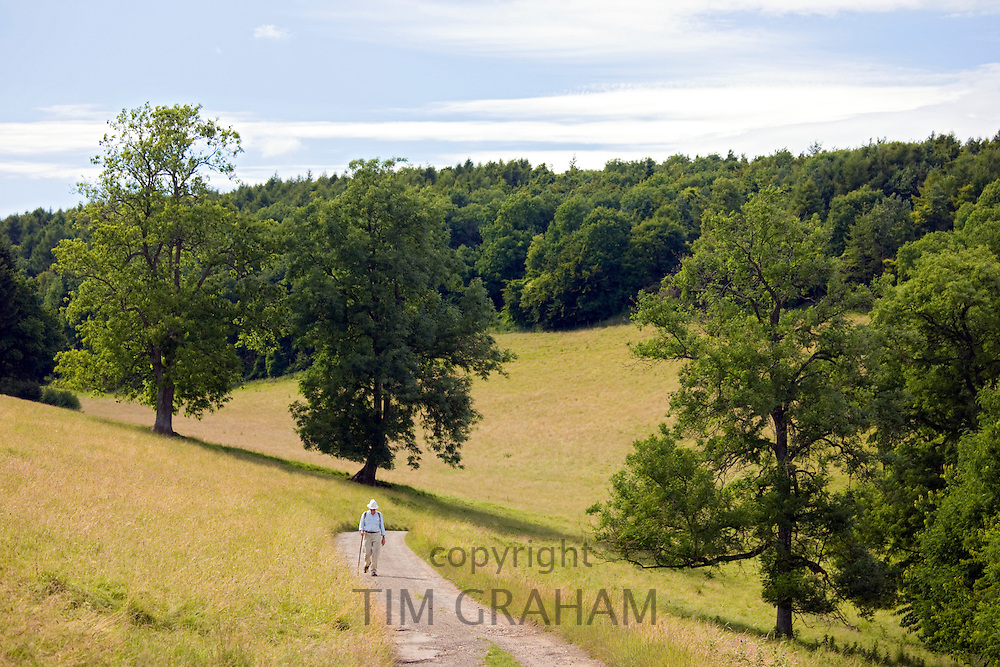 Lone walker in the landscape at Temple Guiting in The Cotswolds, Oxfordshire, UK