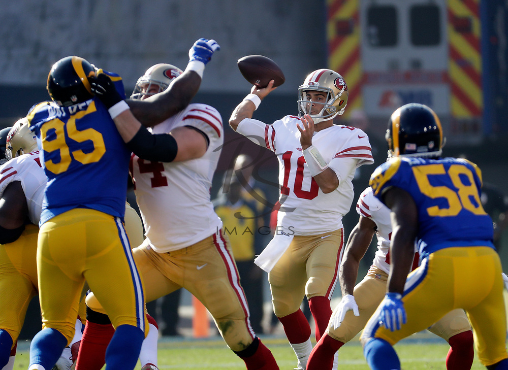 San Francisco 49ers quarterback Jimmy Garoppolo against the Los Angeles Rams during the first half of an NFL football game Sunday, Dec. 31, 2017, in Los Angeles. (AP Photo/Rick Scuteri)