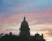 "Texas State Capitol at sunset. NOTE: Click ""Shopping Cart"" icon for available sizes and prices. If a ""Purchase this image"" screen opens, click arrow on it. Doing so does not constitute making a purchase. To purchase, additional steps are required."