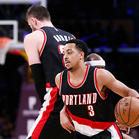 26 March 2016: Portland Trail Blazers guard CJ McCollum (3) drives during the Portland Trail Blazers 97-81 victory over the Los Angeles Lakers, at the Staples Center, Los Angeles, California, USA.