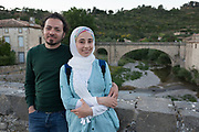 An optimistic Syrian migrant couple seeking a new life in France, on 25th May, 2017, in a southwestern French town.