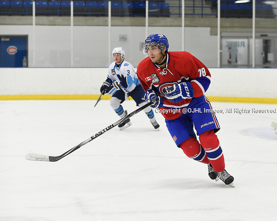 TORONTO, ON - Oct 4, 2015 : Ontario Junior Hockey League game action between St. Michael's and Toronto, David Zeppieri #78 of the Toronto Jr. Canadiens skates up the ice during the first period.<br /> (Photo by Andy Corneau / OJHL Images)