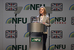 © Licensed to London News Pictures. 23/02/2016. Birmingham, UK. Elizabeth Truss, Secretary of State for Environment, Food and Rural Affairs, tells farmers attending the NFU conference in Birmingham that it is in their best interests that the UK should vote to remain in the EU in the forthcoming referendum. She said that 60 per cent of the country's food and farming exports went to the EU. The trade was worth £11 billion to the the UK, she said. Photo credit : Ian Hinchliffe/LNP
