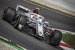 May 11, 2018 - Barcelona, Catalonia, Spain - CHARLES LECLERC (MON) drives during the first practice session of the Spanish GP at Circuit de Catalunya in his Alfa Romeo Sauber C37 (Credit Image: © Matthias Oesterle via ZUMA Wire)