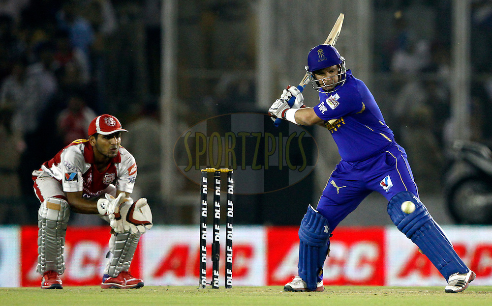 Rajasthan Royals Brad Hodge play a shot during match 48 of the the Indian Premier League ( IPL) 2012  between The Kings X1 Punjab and The Rajasthan Royals held at the Punjab Cricket Association Stadium, Mohali on the 5th May 2012..Photo by Pankaj Nangia/IPL/SPORTZPICS