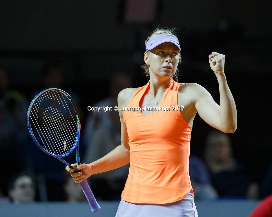 MARIA SHARAPOVA (RUS) macht die Faust und jubelt,Jubel,Emotion, Freude,Sieg,<br /> <br /> Tennis - Porsche  Tennis Grand Prix 2017 -  WTA -  Porsche-Arena - Stuttgart -  - Germany  - 27 April 2017.