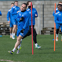 St Johnstone Training....11.04.14<br /> Lee Croft pictured during training this morning ahead of Sunday's Scottish Cup semi-fnal against Aberdeen.<br /> Picture by Graeme Hart.<br /> Copyright Perthshire Picture Agency<br /> Tel: 01738 623350  Mobile: 07990 594431