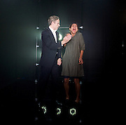 My Eyes Went Dark <br /> by Matthew Wilkinson <br /> at the Finborough Theatre, London, Great Britain <br /> press photocall <br /> 25th August 2015 <br /> <br /> Thusitha Jayasundera<br /> Cal MacAninch<br /> <br /> <br /> Photograph by Elliott Franks <br /> Image licensed to Elliott Franks Photography Services