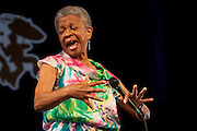 New Orleans born jazz singer and educator Germaine Bazzle on the Jazz Tent stage at the New Orleans Jazz and Heritage Festival at the New Orleans Fair Grounds Race Course in New Orleans, Louisiana, USA, 26 April 2009.