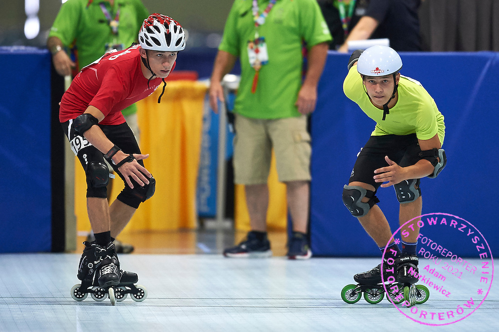 (L) SO Poland athlete Emil Drozd and (R) SO Russia athlete Aleksei Izarov in action while roller skating competition during fifth day of the Special Olympics World Games Los Angeles 2015 on July 29, 2015 at Los Angeles Convention Centre in Los Angeles, USA.<br /> <br /> USA, Los Angeles, July 29, 2015<br /> <br /> Picture also available in RAW (NEF) or TIFF format on special request.<br /> <br /> For editorial use only. Any commercial or promotional use requires permission.<br /> <br /> Adam Nurkiewicz declares that he has no rights to the image of people at the photographs of his authorship.<br /> <br /> Mandatory credit:<br /> Photo by &copy; Adam Nurkiewicz / Mediasport