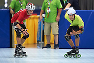 (L) SO Poland athlete Emil Drozd and (R) SO Russia athlete Aleksei Izarov in action while roller skating competition during fifth day of the Special Olympics World Games Los Angeles 2015 on July 29, 2015 at Los Angeles Convention Centre in Los Angeles, USA.<br /> <br /> USA, Los Angeles, July 29, 2015<br /> <br /> Picture also available in RAW (NEF) or TIFF format on special request.<br /> <br /> For editorial use only. Any commercial or promotional use requires permission.<br /> <br /> Adam Nurkiewicz declares that he has no rights to the image of people at the photographs of his authorship.<br /> <br /> Mandatory credit:<br /> Photo by © Adam Nurkiewicz / Mediasport