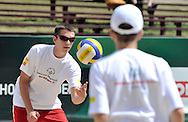 Special Olympics athletes while training session match of Special Olympics Poland during Day 7 of the FIVB World Championships on July 7, 2013 in Stare Jablonki, Poland. <br /> <br /> Poland, Stare Jablonki, July 07, 2013<br /> <br /> Picture also available in RAW (NEF) or TIFF format on special request.<br /> <br /> For editorial use only. Any commercial or promotional use requires permission.<br /> <br /> Mandatory credit:<br /> Photo by © Adam Nurkiewicz / Mediasport
