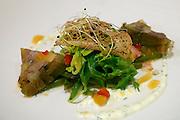 Längenfeld, Tyrol, Austria. AQUA DOME. Dinner at the restaurant.<br /> Hausgebeiztes Tafelspitzsülzchen auf Prinzessbohnensalat mit Meerrettichsauce.