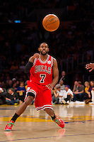 25 December 2011: Guard C.J. Watson of the Chicago Bulls passes the ball against the Los Angeles Lakers during the first half of the Bulls 88-87 victory over the Lakers at the STAPLES Center in Los Angeles, CA.