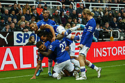 Dominic Calvert-Lewin (#9) of Everton celebrates Everton's first goal (0-1) with Everton team mates during the Premier League match between Newcastle United and Everton at St. James's Park, Newcastle, England on 28 December 2019.