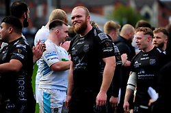 Joe Davies of Dragons after the final whistle of the match  - Ryan Hiscott/JMP - 25/10/19 - SPORT - Rodney Parade - Newport, Wales -