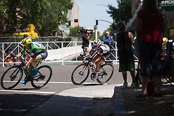 Liane Lippert (GER) of Team Sunweb leans into a corner on Stage 3 of the Amgen Tour of California - a 70 km road race, starting and finishing in Sacramento on May 19, 2018, in California, United States. (Photo by Balint Hamvas/Velofocus.com)