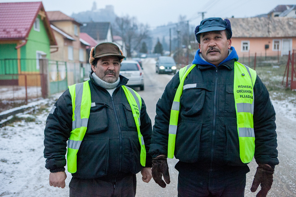 "Two members of the ""Roma Civil Guard"" (from the local governments self established guards) at the Roma part of the district ""Podsadek"" (2016). The town of Stara Lubovna has a population of 16350, of whom 2 060 (13%) are of Roma origin. The majority of Roma live in the Podsadek district, where 980 (74%) out of 1330 inhabitants are Roma."